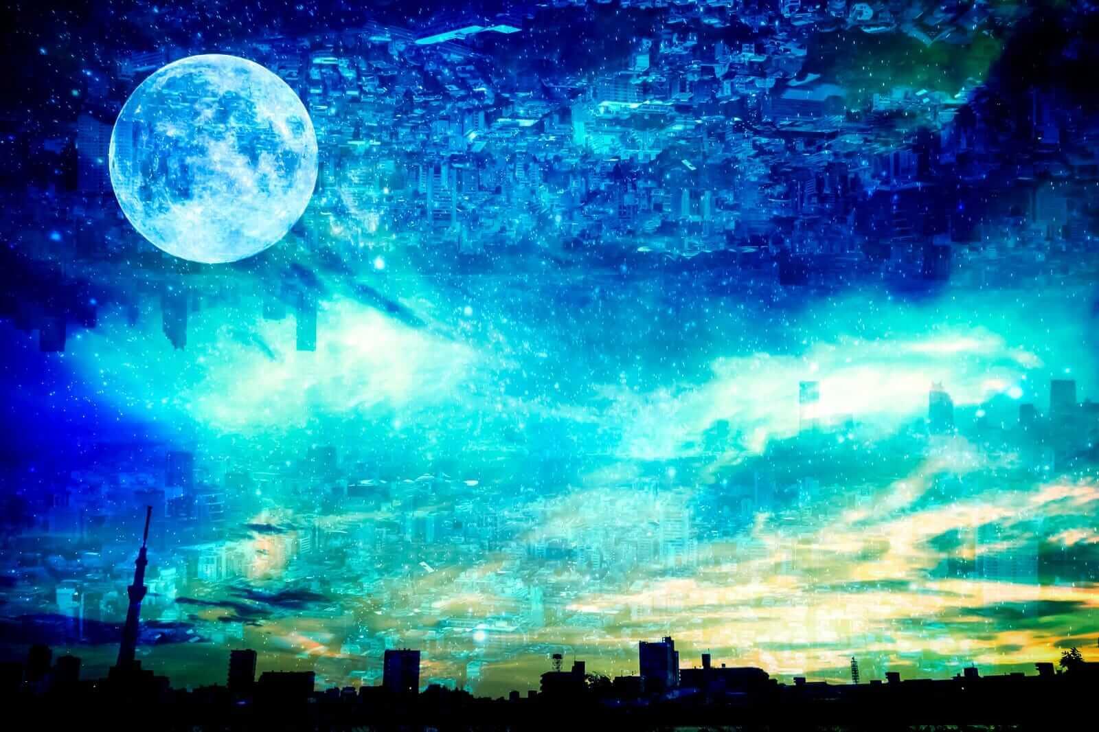 未来都市にも、今の世界にも、潜在意識、阿頼耶識の月変わらずにある。